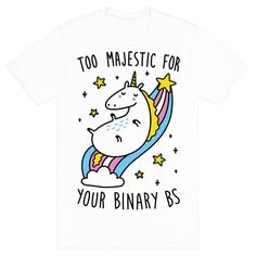 You're just too majestic for gender binary BS! Celebrate your identity with no limits of gender with this majestic unicorn design. Perfect if you're trans, non binary, gender neutral, and breaking the stereotypes of gender identity!