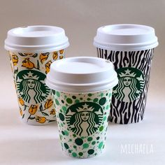 Love this set of Starbucks cup art.