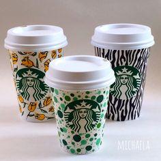Love this set of Starbucks cup art.