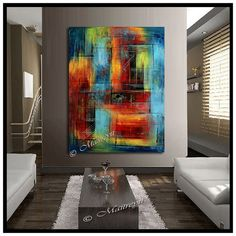 LARGE ARTWORK Original paintings red Blue abstract por largeartwork