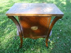 Vintage Smoking Table Humidor Copper Lined End Table Night