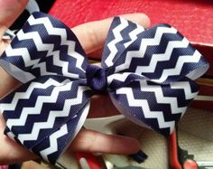 Navy blue and white chevron hair bow
