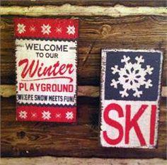 Vintage ski signs