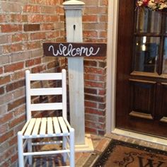 We took this idea from pinterest and made it our own! Our idea of a welcoming front porch! Can change out the signs for any occasion :)