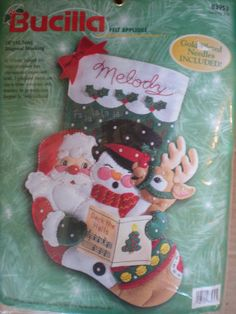 Bucilla Felt Applique Christmas Stocking Kit CAROLING TRIO  Santa Rudolph Frosty #Bucilla