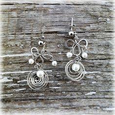 Long earrings nickel silveralbata earrings pearls от Lybid на Etsy USD 14.00