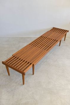 This beautiful wooden slat bench by John Keal for Brown Saltman has tons of uses. Could be used at the foot of your bed with a cushion, in a Wooden Slats, Wooden Art, Home Decor Furniture, Furniture Design, Outdoor Furniture, Diy Holz, Home Room Design, Diy Bed, Console Table