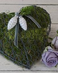 Moss in wire heart...could use for Valentines Day with ornament change.