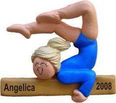 Gymnastics Female Blonde Hair Personalized Christmas Ornament