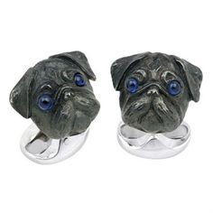 Deakin & Francis Sterling Silver Pug Head Dog Cufflinks