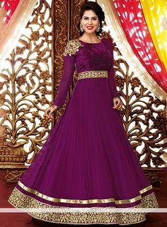 Abaya Style Anarkali Salvar Kamij In Purple  AE0086