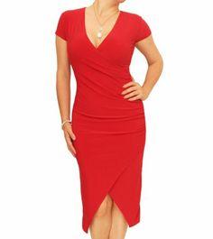 Red Ruched Mock Wrap Dress - £37.99 #womensfashion Justblue.com