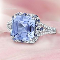 """A special gemstone or piece of jewelry has the power to remind you of a time, a place, or a loved one in your life"". -#MartinKatz #PastelSapphire and Diamond Ring. #SapphireRing"
