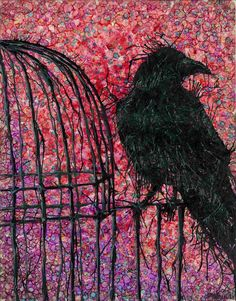 Raven on Bird Cage Abstract Painting Giclee Art Print by sarahmerrill on Etsy https://www.etsy.com/listing/56382588/raven-on-bird-cage-abstract-painting