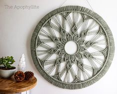 Macrame Rings, Macrame Mirror, Macrame Art, Macrame Projects, Macrame Wall Hanging Patterns, Macrame Patterns, Modern Macrame, Macrame Design, Sunflower Table Centerpieces