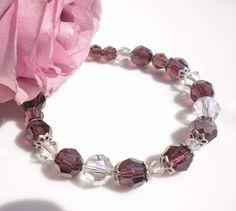 Swarovski Crystal Bordeaux & Silk Bracelet w by MagdaleneJewels