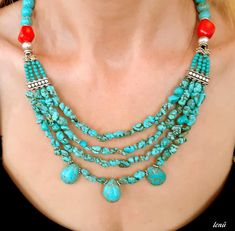 turquoise, turquoise necklace, coral necklace, stylish necklace, multi strand necklace by LeNuJewellery on Etsy