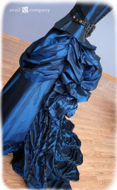 Blue Steampunk Wedding Dress, Turn of the Century Inspired Bustle Dress