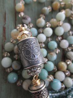 Sugar skull knotted tassel necklace SkyFall earthy by slashKnots