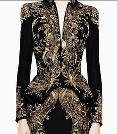 Couture Black Gown Embellished With Gold Detail