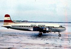 Pacific Western Airlines Douglas CF-PWB at Edmonton-City Centre Airport, circa (Photo: Gordon Hunter) Canadian Airlines, Major Airlines, Air North, Douglas Dc 4, Douglas Aircraft, Airport Photos, Boeing 727, Passenger Aircraft, Civil Aviation