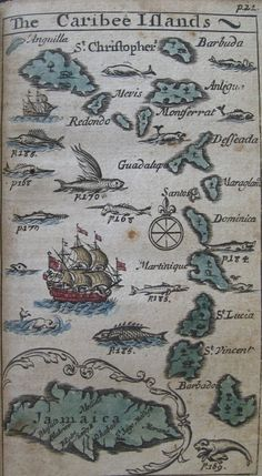 "Image from Nathaniel Crouch's 1682(?) work, The English empire in America. Or, A view of the dominions of the crown of England in the West Indies…  From John Carter Brown Library, the description of this image:  Map of the Caribbean Sea with inset of Jamaica. Cartographic element  includes compass rose. Includes manatee with its calf and many kinds of  fish such as swordfish, flying fish, and ""sea unicorn"" [narwhal?]. Also  includes ships.  Narwhals, in case you are ..."