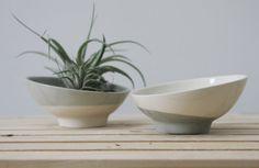 Ceramic bowl in white and gray. ceramic planter, ceramic dipping bowl, ceramic candle holder
