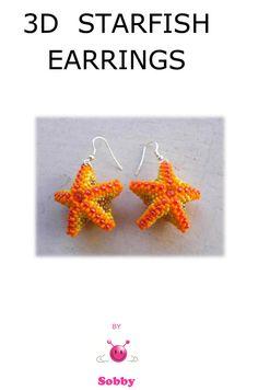 <3 Beaded Starfish Earrings PDF  tutorial in ENGLISH