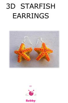 Beaded Starfish Earrings PDF  tutorial in ENGLISH