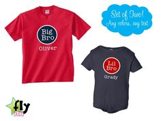 Big Brother, Little Brother Shirts, BIG/LIL BRO - Set of 2  Onesie or T-Shirts - Personalized, Lots of Colors, Any Text. $33.98, via Etsy.