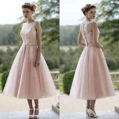 Blushing-Pink-Tulle-Tea-Length-Wedding-Dress-Bridal-Gowns-US-Size-12-14-16-18