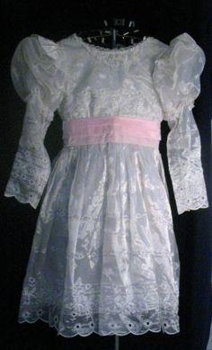 Vintage Girls White Eyelet Mutton Sleeve Dress