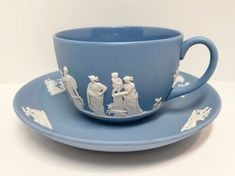 Wedgwood Teacup and Saucer, Jasperware Teacup, Vintage Tea Cups, Blue Tea Cups,  Antique Tea Cups, English Cups, Blue and White Ware Vintage India, Vintage Tea, English Cup, Antique Tea Cups, English Pottery, Cream And Sugar, Cup And Saucer Set, Wedgwood, Teacups