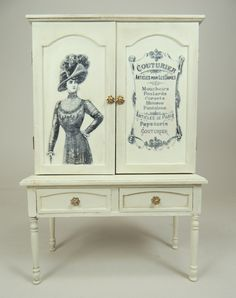 Our original designed 1/12 scale cabinet features antique transfer artwork on the front.