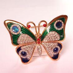 Enamel Rhinestone Butterfly Brooch