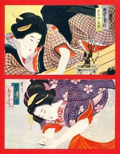 Lot of 2 JAPAN Japanese Art Postcard Beautiful Woman KIMONO BONSAI KANZASHI #11