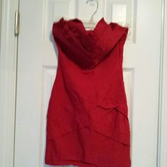 Red Hot strapless dress size small This cute little dress needs to be pressed but even from the pictures you can see the cute detail in its design.  It zips up the back.  Very sexy! Body Central Dresses Strapless