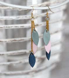 Geometric elements dangling leather earrings in by casuallynatural