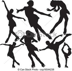 Vectors of Figure skating vector silhouettes - Figure ice skating ...