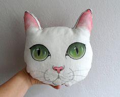 White Cat Pillow, Handpaint Cat Plush pillow, stuffed animal, gift for cat lovers on Etsy, $43.84 CAD