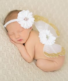 Another great find on #zulily! The Tiny Blessings Boutique White & Gold Flower Headband & Wing Set by The Tiny Blessings Boutique #zulilyfinds