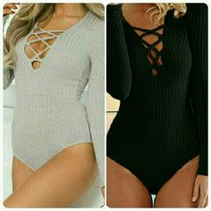 Grey Long Sleeve Ribbed Deep V Crisscross Bodysuit Size Large Heather Grey Long Sleeve Ribbed Deep V Crisscross Laced Up Bodysuit  Ladies Comment Below If You'd Like To Purchase One In A Different Size Or Color..Sizes Available: Small, Medium, Large & XL...Colors Available: Black & Grey         No Trades Price Firm ✈✈Ships Same Or Next Day✈✈ Tops Tees - Long Sleeve