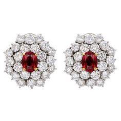 Betteridge Collection Ruby & Diamond Cluster Earclips