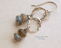 Larimar Earrings with White Freshwater Pearls on by BanteringBird