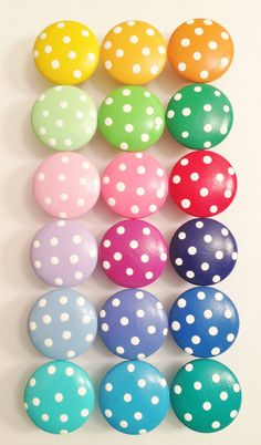 Adorable Hand Painted Dresser Knobs - Assorted Colors With Polka Dots