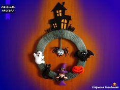 Halloween Wreath felt - Haunted house, ghost, black cat, witch, pumpkin, bat, spider