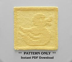 RUBBER DUCK Knitting Pattern - PDF Instant Download - Rubber Duck Baby Wash Cloth Pattern, Baby Blanket Pattern Square, Knitted Duck Pattern
