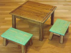 Childrens table and stools/ step stool/ foot stool/ solid wood/ reclaimed wood/ brown and lime green. $165.00, via Etsy.