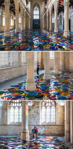 This 125-year-old church has a new, bright and inviting floor display made of 700 mirrors in 15 acrylic shades