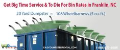 Franklin, NC at EasyDumpsterRental Dumpster Rental in Franklin, NC Get Big Time Service & To Die For Bin Rates How We Provide Exciting Roll Off Service In Franklin: We provide quality customer service that will take you back to a simpler era in America. A time when businesses really cared if you were happy or not and when a... https://easydumpsterrental.com/north-carolina/dumpster-rental-franklin-nc/